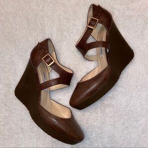 Jimmy Choo Wedge Heels Size 41 Light Brown Leather